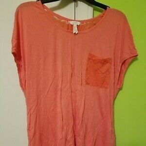 Candie's Coral Lace Back Blouse